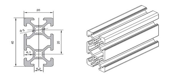 Industrial aluminum profile WLT-6-2040