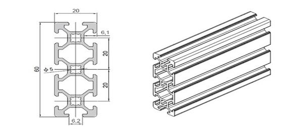 Industrial aluminum profile WLT-6-2060
