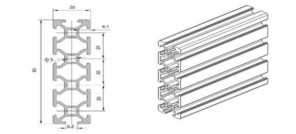 Standard European standard aluminum profile WLT-6-2080
