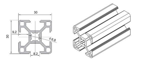 Industrial aluminum profile WLT-8-3030